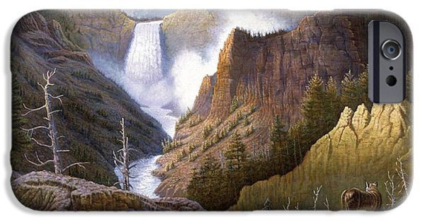 Western Art Digital Art iPhone Cases - Moody Falls  iPhone Case by Gregory Perillo