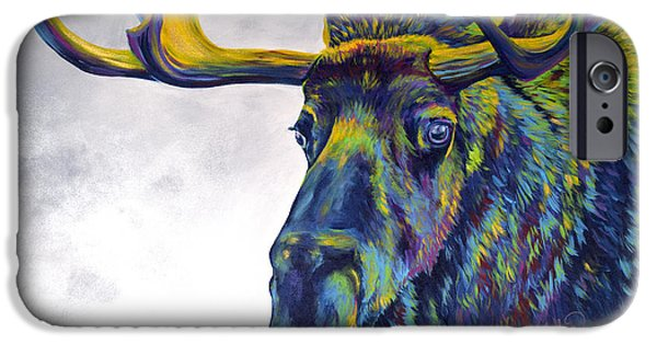 Featured Paintings iPhone Cases - Moody Moose iPhone Case by Teshia Art