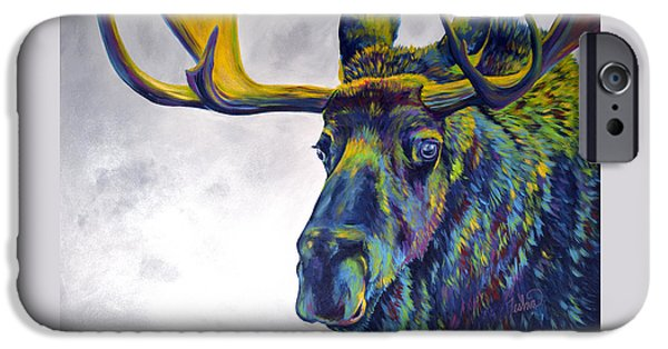 Moonlit iPhone Cases - Moody Moose iPhone Case by Teshia Art