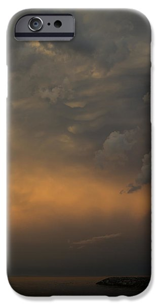 Turbulent Skies iPhone Cases - Moody Storm Sky Over Lake Ontario in Toronto iPhone Case by Georgia Mizuleva