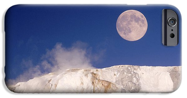 Mammoth Terrace iPhone Cases - Moon & Yellowstone iPhone Case by Mark Newman