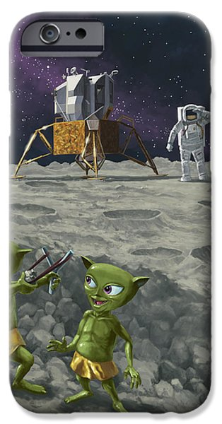 Moon Walk iPhone Cases - Moon Alien Kids Catapult Firing Game With Astronauts iPhone Case by Martin Davey