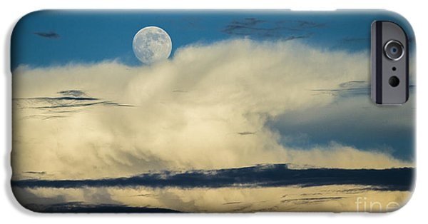 Moon iPhone Cases - Moon and Thunderclouds iPhone Case by Dustin K Ryan