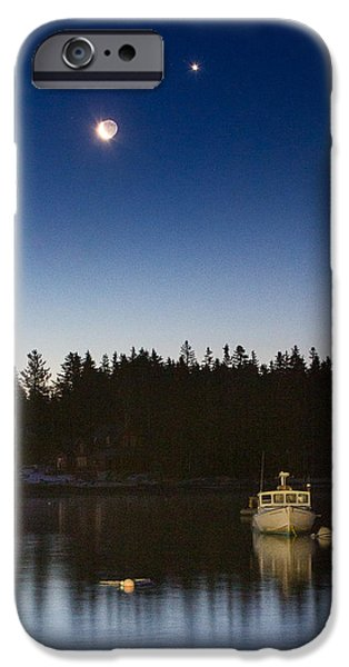 Midcoast iPhone Cases - Moon and Venus over Five Islands iPhone Case by Benjamin Williamson