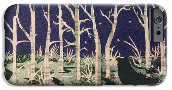 Nature Abstract Tapestries - Textiles iPhone Cases - Moon at Night iPhone Case by Lisa Bates