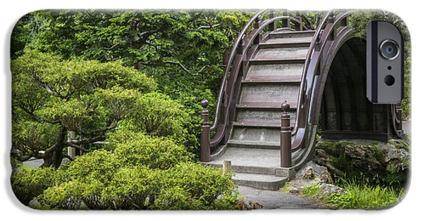 Buddhist iPhone Cases - Moon Bridge - Japanese Tea Garden iPhone Case by Adam Romanowicz
