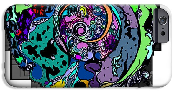 Abstract Digital Drawings iPhone Cases - Moon Disguise  iPhone Case by Carly Anderson