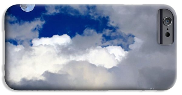 Gaia Digital iPhone Cases - Moon - Fluffy Clouds -Vivid Blue Sky iPhone Case by Barbara Griffin