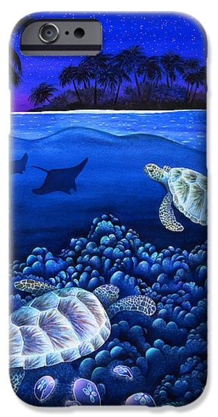 Sea Moon Full Moon Photographs iPhone Cases - Moon Glow iPhone Case by Carolyn Steele