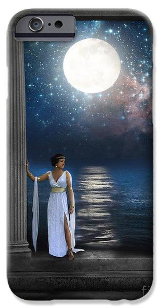 Sea Moon Full Moon iPhone Cases - Moon Goddess iPhone Case by Jill Battaglia