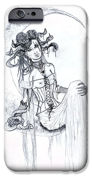 Serpent iPhone Cases - Moon Goddess Sketch iPhone Case by Kd Neeley
