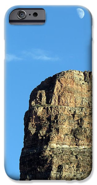 Grand Canyon Tapestries - Textiles iPhone Cases - Moon Hanging Out iPhone Case by Charles Ables