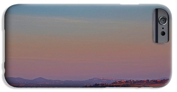Tuscan Hills iPhone Cases - Moon Hanging Over Montepulciano, Italy iPhone Case by Tim Holt