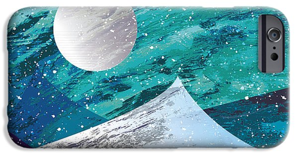 Snowy Night Mixed Media iPhone Cases - Moon Light Mountains iPhone Case by Tim Ford