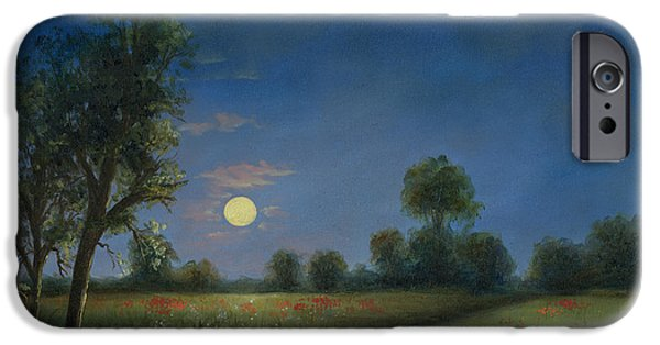 Cecilia iPhone Cases - Moonlight Poppies in Argenteuil  iPhone Case by Cecilia  Brendel