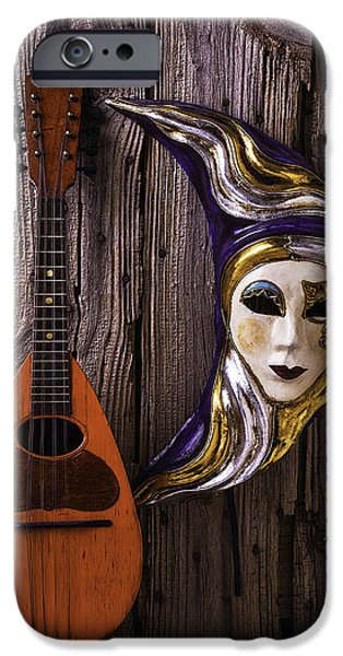 Treasure Box iPhone Cases - Moon Mask And Mandolin iPhone Case by Garry Gay