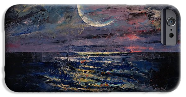 Michael Paintings iPhone Cases - Moon iPhone Case by Michael Creese