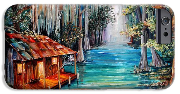 Swamp iPhone Cases - Moon on the Bayou iPhone Case by Diane Millsap