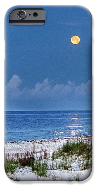 Moon Over Beach iPhone Case by Michael Thomas