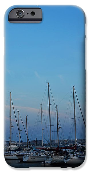 Boston Ma iPhone Cases - Moon over boats in East Boston iPhone Case by Toby McGuire