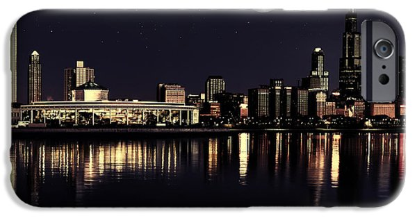 Lake Front iPhone Cases - Moon Over Chicago iPhone Case by Dancin Artworks