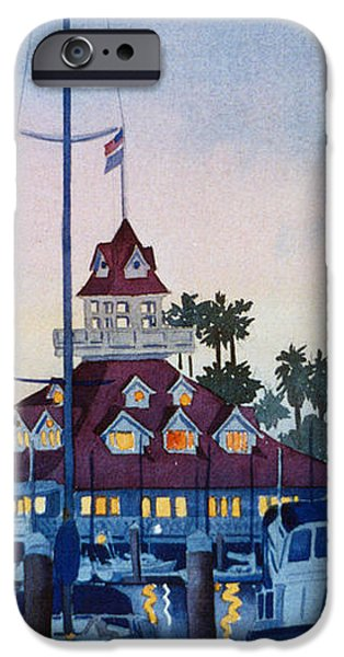Moon over Coronado Boathouse iPhone Case by Mary Helmreich