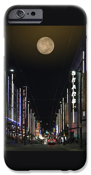 Moonscape iPhone Cases - Moon Over Granville Street iPhone Case by Ben and Raisa Gertsberg