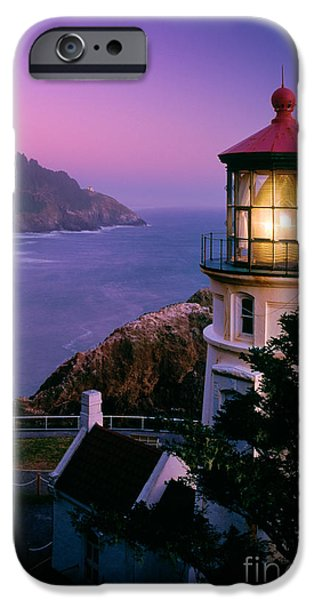 Lighthouse iPhone Cases - Moon over Heceta Head iPhone Case by Inge Johnsson