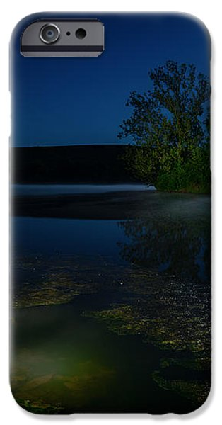 Moon over lake iPhone Case by Alexey Stiop