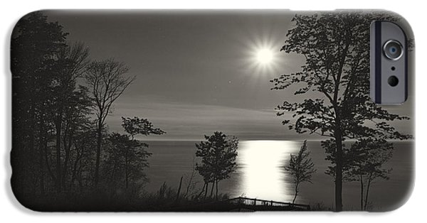 Lake County iPhone Cases - Moon over Lake Michigan in  Black and White iPhone Case by Mary Lee Dereske