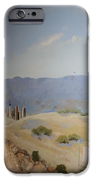 Desert Scape iPhone Cases - Moon Over Lost Wages in Train Room iPhone Case by Maria Hunt