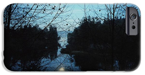 Moonscape iPhone Cases - Moon over Mill Creek by Steve Strand iPhone Case by Patricia Strand