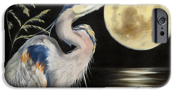 Sea Moon Full Moon Paintings iPhone Cases - Moon Over Mississippi A Great Blue Herons Perspective iPhone Case by Phyllis Beiser