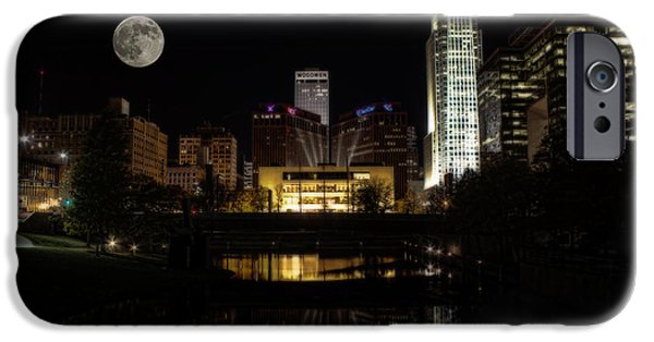 Jeff Swanson iPhone Cases - Moon Over Omaha iPhone Case by Jeff Swanson