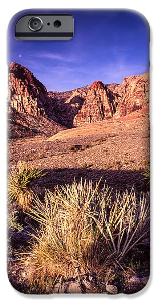 Oak Creek iPhone Cases - Moon Over Red Rock Canyon iPhone Case by Silvio Ligutti