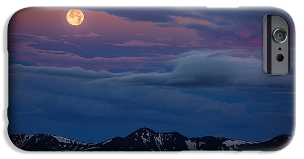 Darren iPhone Cases - Moon Over Rockies iPhone Case by Darren  White