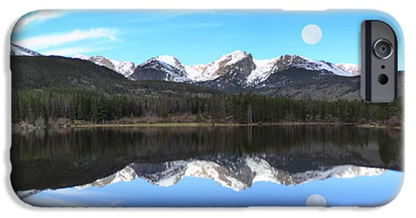 Sun Shade iPhone Cases - Moon Over Sprague Lake iPhone Case by Shane Bechler