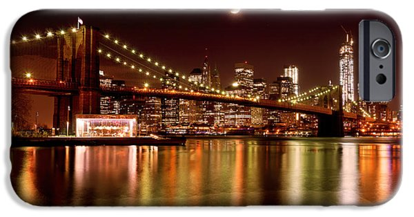 I Love America iPhone Cases - Moon Over the Brooklyn Bridge iPhone Case by Mitchell R Grosky