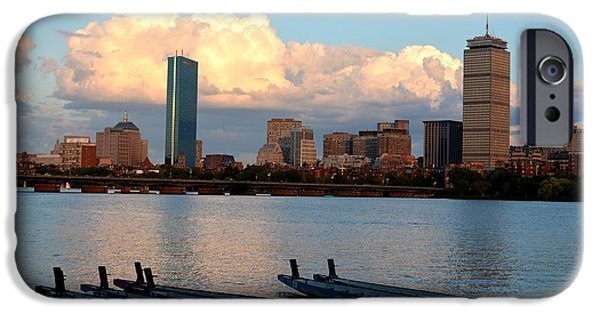 Charles Bridge Digital iPhone Cases - Moon over the the Prudential on the Charles River iPhone Case by Toby McGuire