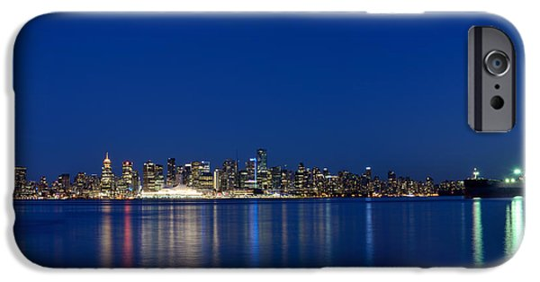 Burrard Inlet iPhone Cases - Moon Over Vancouver Skyline iPhone Case by Terry Elniski