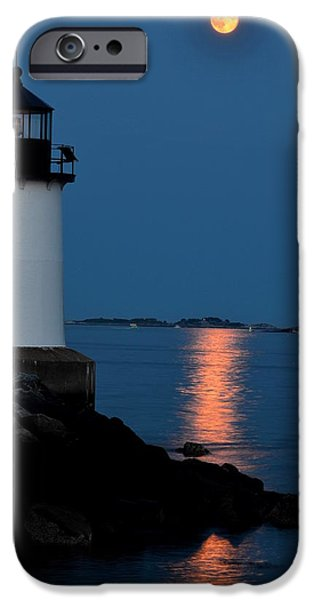 New England Lighthouse iPhone Cases - Moon over Winter Island Salem MA iPhone Case by Toby McGuire