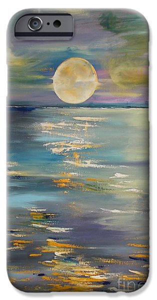 Planetoid Paintings iPhone Cases - MOON over YOUR town/REFLEXION iPhone Case by PainterArtist FIN