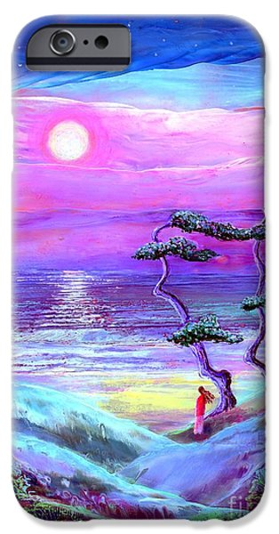 Dream Paintings iPhone Cases - Moon Pathway iPhone Case by Jane Small