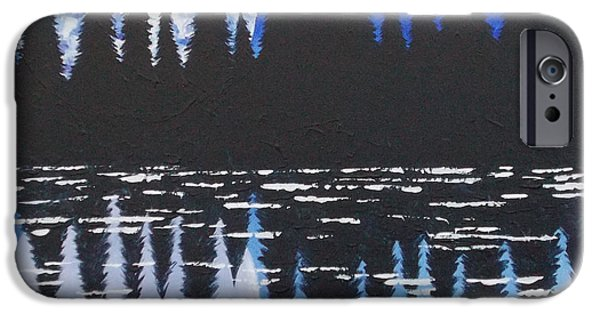 Walden Pond Paintings iPhone Cases - Moon Reflection Over Walden Pond iPhone Case by Tracy Levesque