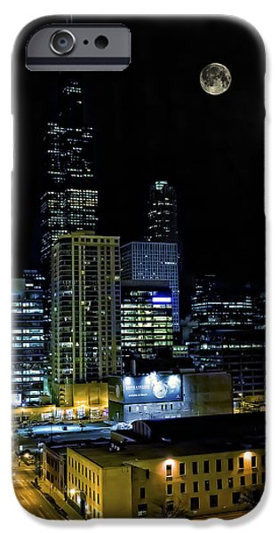 Willis Tower iPhone Cases - Moon rise over downtown Chicago and the Willis Tower #2 iPhone Case by The  Vault - Jennifer Rondinelli Reilly
