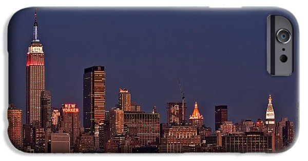 Hudson River iPhone Cases - Moon Rise Over Manhattan iPhone Case by Susan Candelario