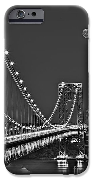 Empire State iPhone Cases - Moon Rise over the George Washington Bridge BW iPhone Case by Susan Candelario