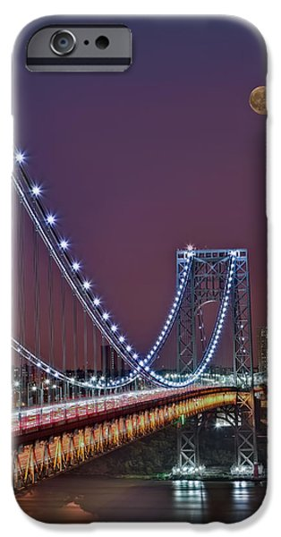Moon Rise over the George Washington Bridge iPhone Case by Susan Candelario