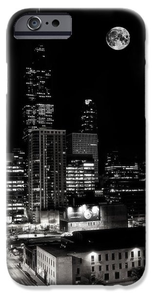 Willis Tower iPhone Cases - Moon rise over Willis Tower in Downtown Chicago iPhone Case by The  Vault - Jennifer Rondinelli Reilly