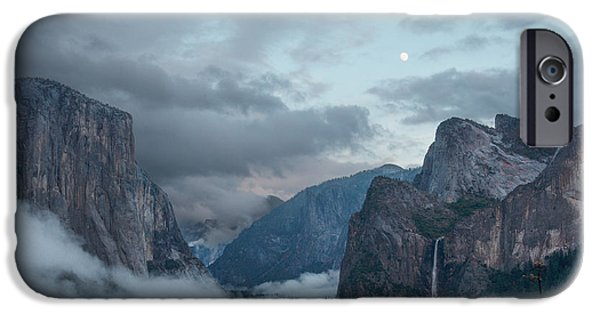 Veiled iPhone Cases - Moon Rise Yosemite iPhone Case by Bill Roberts